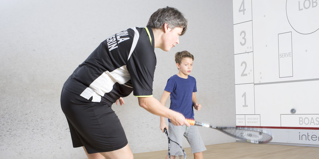 interactive squash coaching with trainer Carola